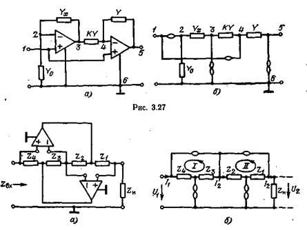 сопоставление схем на операционных усилителях и нуллорах.